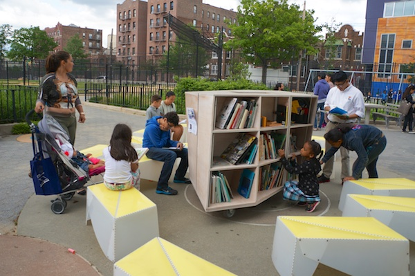 A book festival at a park in Hunts Point, Bronx, co-sponsored with Hunts Point Alliance for Children: https://www.streetlab.org/2014/06/hunts-point/