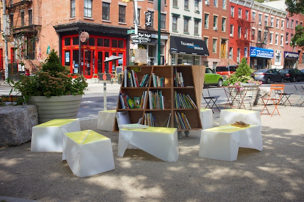 Photos from deployment of the Uni reading room in Ft. Greene, Brooklyn on July 12, 2014.