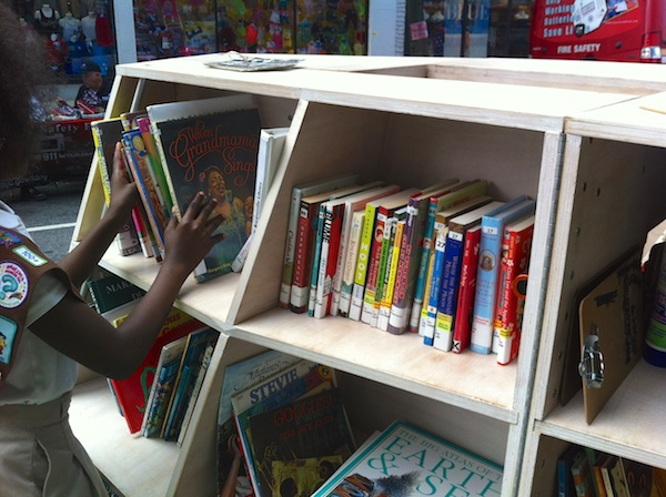 Today, we joined forces with partner Brooklyn Public Library to offer books and materials from a nearby branch.