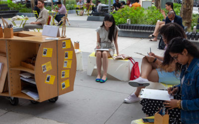 Drawing together at Spring Street Park, a weekly pop-up.