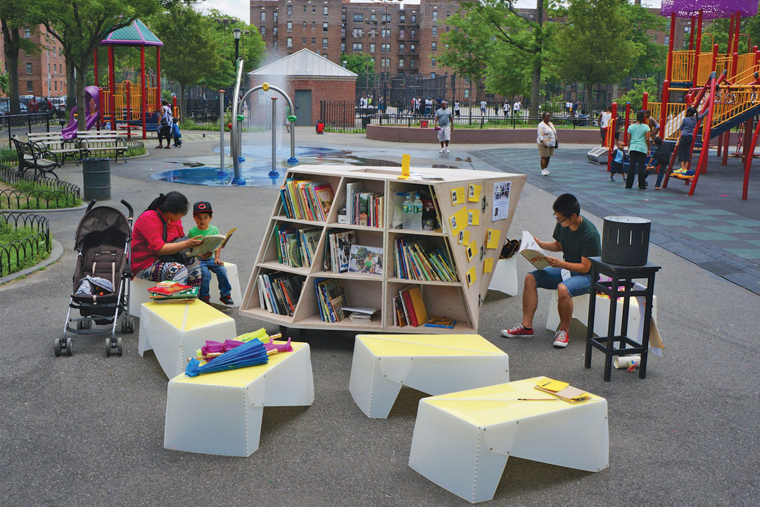 The Uni portable reading room in NYC Parks.